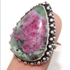 New Ruby Zoisite Ring, Size 9, stamp 925
